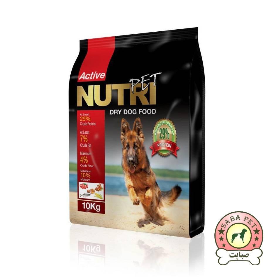 غذای سگ 10 کیلویی پربیوتیک 29 درصد پروتئین NutriPet