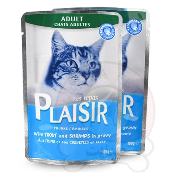 پوچ گربه با ماهی و میگو در سس 100 گرم Plaisir